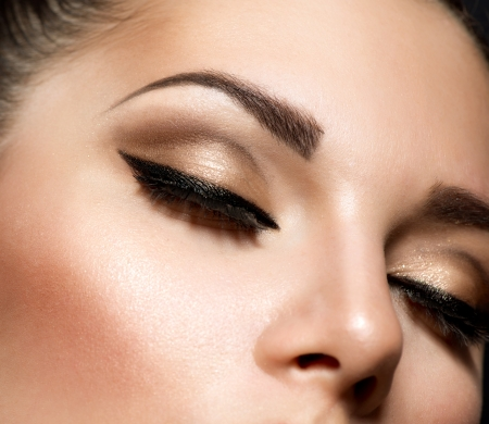 brows: Eye Makeup  Beautiful Eyes Retro Style Make-up  Stock Photo