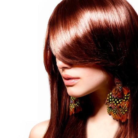 pelo rojo: Retrato de mujer de moda elegante modelo Maquillaje