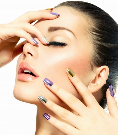 glamourous: Beautiful Fashion Girl s Face  Make-up and Manicure