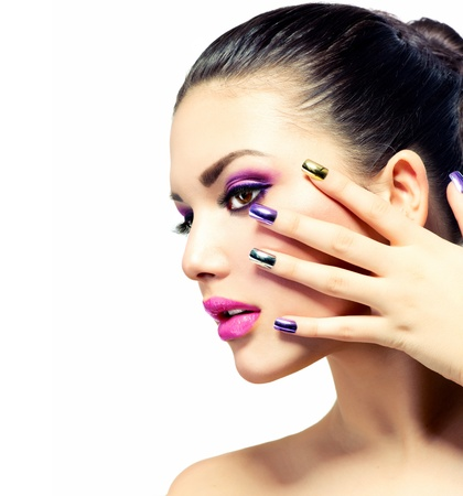 manicure: Beauty Makeup  Purple Make-up and Colorful Bright Nails Stock Photo