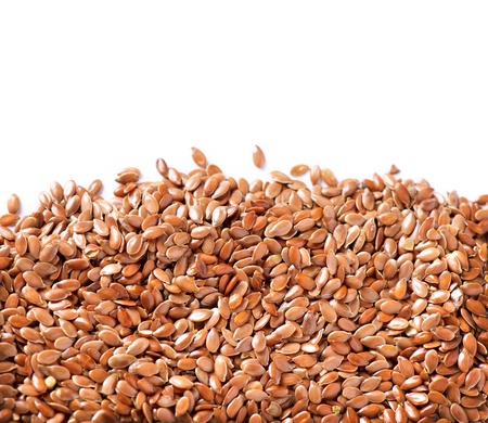 brown flax: Linseed border isolated on White Background  Flax seeds