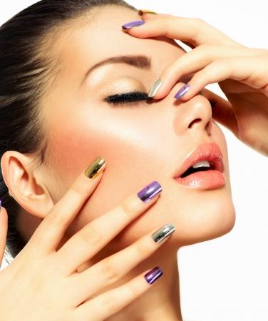 Beautiful Fashion Girl s Face Make-up and Manicure