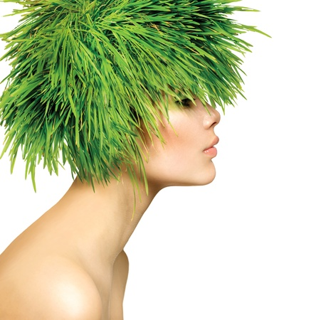 hair: Beauty Spring Woman with Fresh Green Grass Hair