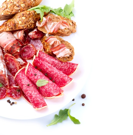 Sausage  Italian Ham, Salami and Bacon isolated on White Stock Photo - 19149132