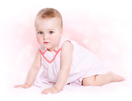months: Baby  Cute Baby Girl Portrait  Stock Photo