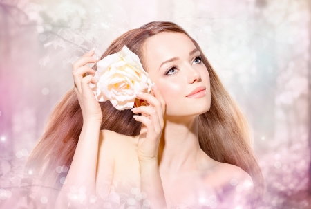 spring rose: Beauty Girl Portrait  Spring Model with flower