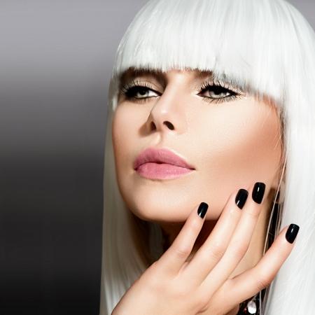 grey nails: Fashion Vogue Style Model Portrait  Stock Photo