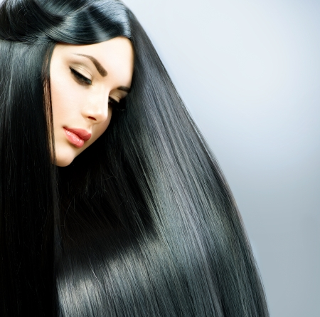 black hair: Long Straight Hair  Beautiful Brunette Girl