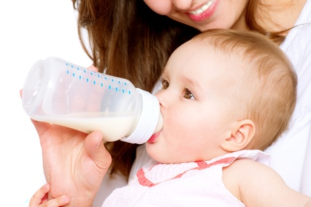 infants: Feeding Baby  Baby eating milk from the bottle