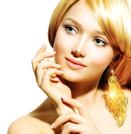 earring: Beauty Blonde Fashion Model Girl With Golden Earrings