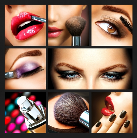 collage caras: Makeup Collage Profesional Maquillaje detalles Makeover Foto de archivo