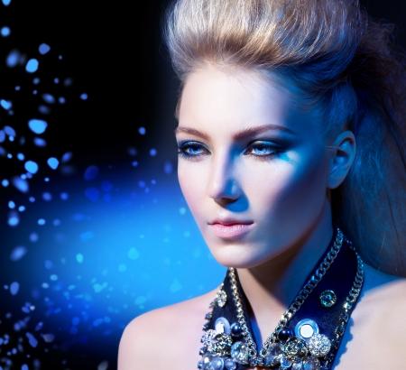 bouffant: Fashion Rocker Style Model Girl Portrait  Hairstyle