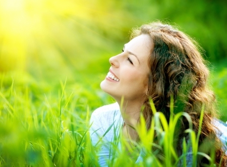 Beautiful Young Woman Outdoors Enjoy Nature