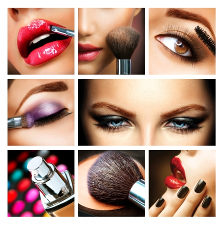Mujer makeup: Makeup Collage Profesional Maquillaje detalles Makeover Foto de archivo