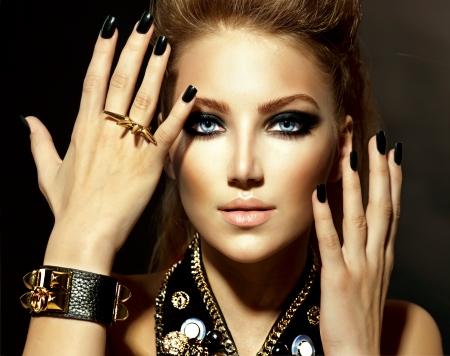 bouffant: Fashion Rocker Style Model Girl Portrait  Stock Photo