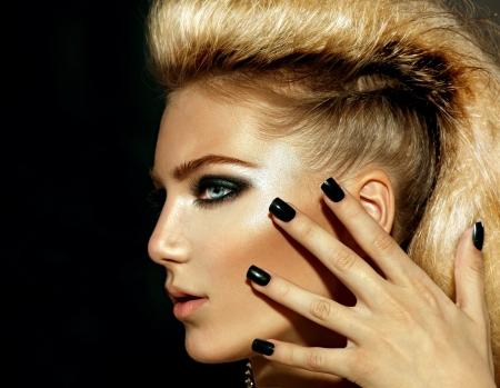 Fashion Rocker Style Model Girl Portrait  Hairstyle