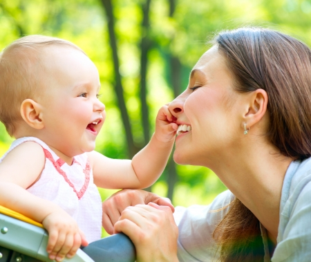 Beautiful Mother And Baby outdoors  Nature  photo