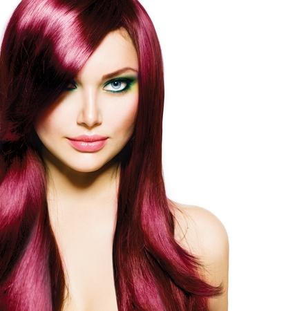 güzellik: Sağlıklı Uzun Saç ve Blue Eyes Güzel Brunette Kız