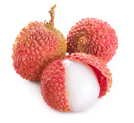 Lychee  Fresh lychees isolated on white
