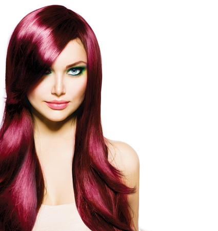 Beautiful Brunette Girl mit dem gesunden langen Haaren und blauen Augen Standard-Bild - 20104820