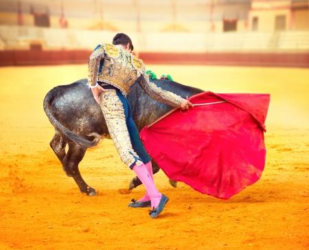 コリーダ マタドール ファイティング典型的なスペイン闘牛で 写真素材