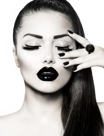 Black and White Brunette Girl Portrait  Trendy Caviar Manicure  photo