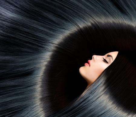 Gesunde Long Black Hair Beauty Brunette Woman Standard-Bild - 20793549