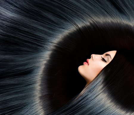 Long hair: Khỏe mạnh dài đen tóc đẹp Brunette phụ nữ