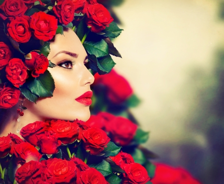 lipgloss: Beauty Fashion Model Girl Portrait with Red Roses Hairstyle  Stock Photo