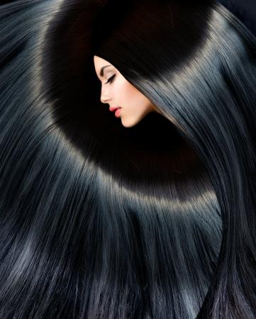 건강한 긴 검은 머리 아름다움 갈색 머리 여자