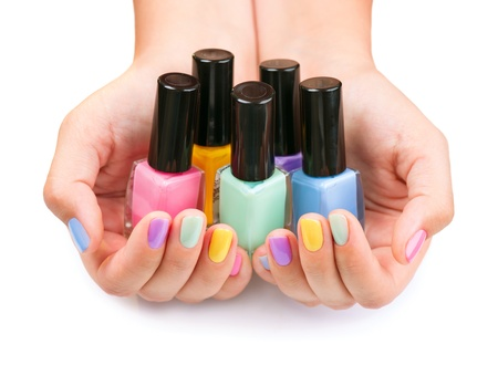 Nail Polish  Manicure  Colorful Nail Polish Bottles Stock Photo