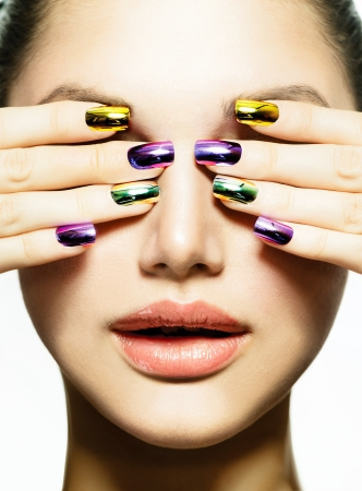 Manicure and Make-up  Nail art  Beauty Woman With Colorful Nails  Stock Photo - 20793582