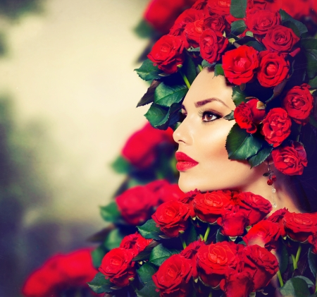roses: Beauty Fashion Model Girl Portrait with Red Roses Hairstyle  Stock Photo