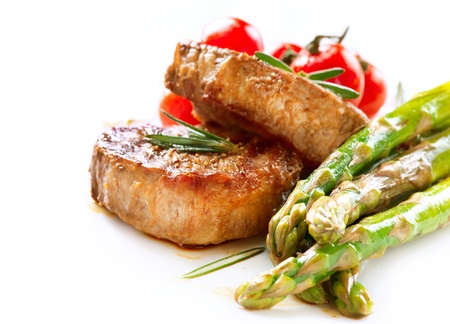 Grilled Beef Steak Meat over White