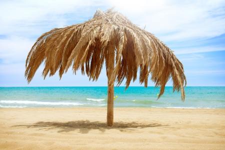 sun roof: Vacation Concept  Palapa Sun Roof Beach Umbrella Stock Photo