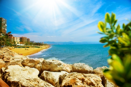 Torremolinos Panoramic View, Costa del Sol  Malaga, Spain  Stock Photo