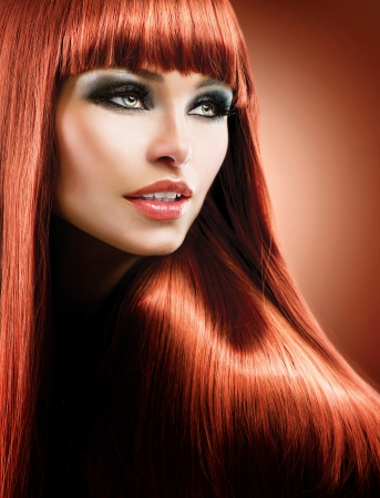 Healthy Straight Long Red Hair  Fashion Beauty Model  Stock Photo - 20834520