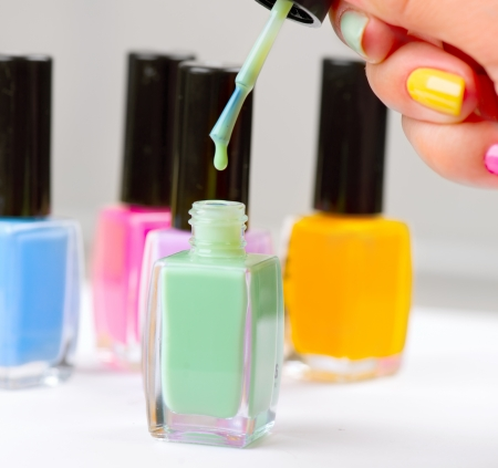 Nail Polish  Manicure  Colorful Nail Polish Bottles Stock Photo - 20934454