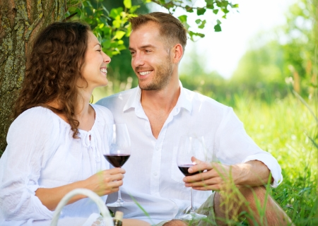 ピクニック、若いカップルのリラックスと公園でワインを飲む