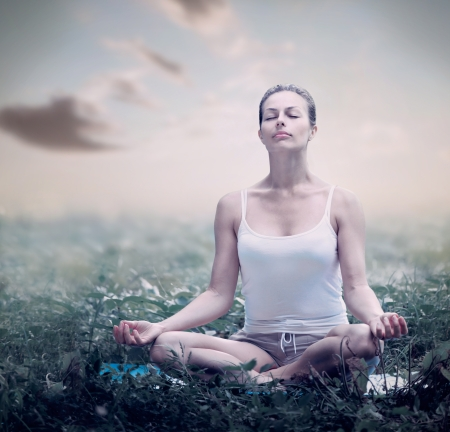Meditation Woman  Yoga outdoor  photo