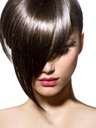 Taglio di capelli moda acconciatura alla moda Fringe Archivio Fotografico