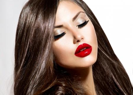 Sexy schoonheid meisje met rode lippen en nagels Provocerende Makeup Stockfoto