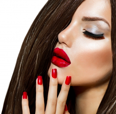 Sexy Beauty Girl with Red Lips and Nails  Provocative Make up Stock Photo - 21065023