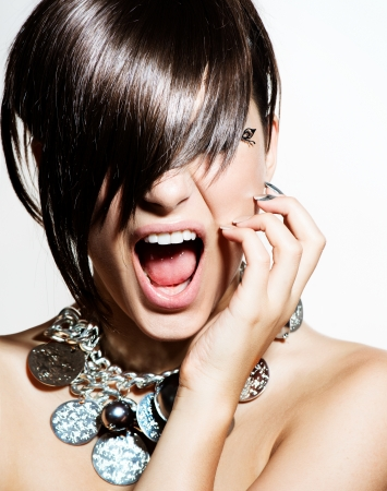 short cut: Fashion Model Girl Portrait  Emotions  Trendy Hair Style Stock Photo