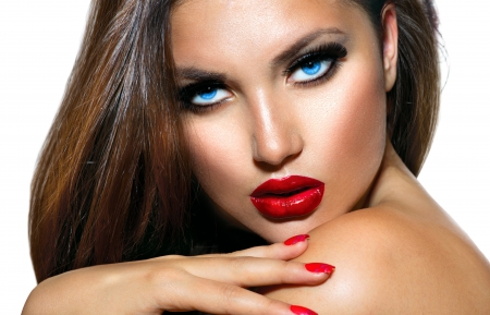 lips red: Belleza Sexy chica con labios rojos y uñas Maquillaje provocativa Foto de archivo