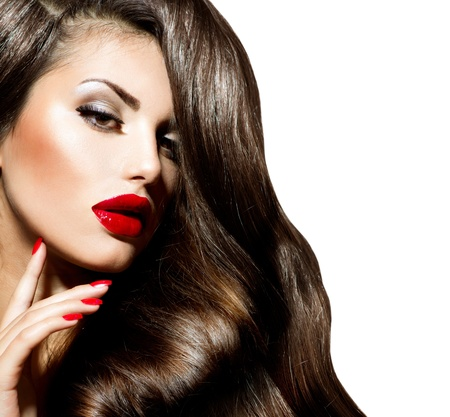 Sexy Beauty Girl with Red Lips and Nails  Provocative Makeup  Stock Photo - 21065055