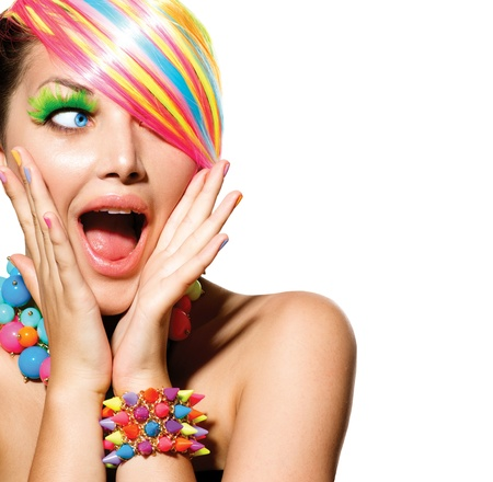 Beauty Girl Portrait with Colorful Makeup, Hair and Accessories  Imagens