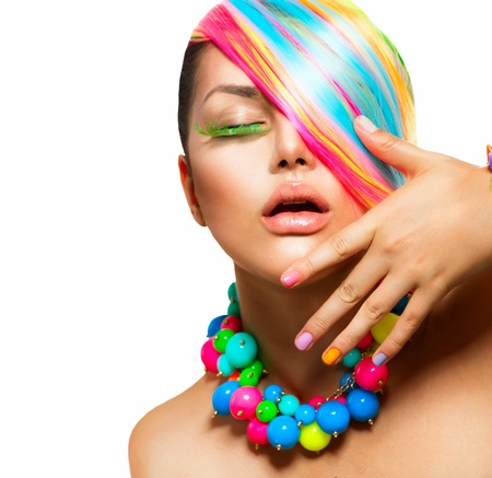 Beauty Girl Portrait with Colorful Makeup, Hair and Accessories photo