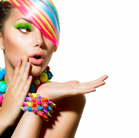 Beauty Girl Portrait with Colorful Makeup, Hair and Accessories  Stock Photo