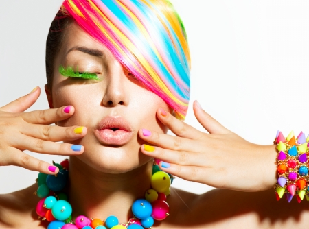 Beauty Girl Portrait with Colorful Makeup, Hair and Accessories  版權商用圖片